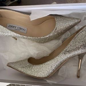 Jimmy Choo Glitter Pointed Toe Pump